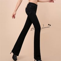 Wholesale new girl fashion jeans for sale - Group buy New High Quality Women Boot Cut Jeans Girls Fashion Bell bottom trousers High Waist Flares Pants Large Size