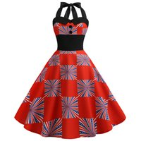 ingrosso swing americano-Donna American Flag Print Evening Party Prom Swing Button Halter Hepburn Dress 123