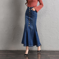 fischschwanz mode röcke großhandel-E-Baihui 2019 neue Art und Weise Fish Tail Denim Mermaid Röcke für Frauen mit hohen Taille dünner Denim-Jeans-Knopf Langer Bleistiftröcke L705