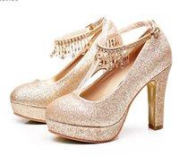 каблуки малого размера оптовых-Большой Маленький Размер 33 К Размеру 40 41 42 43 Блеск золота горный хрусталь платформы толстый каблук туфли на высоком каблуке свадебные туфли платье выпускного вечера обувь