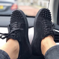 Wholesale blue suede flat shoes for sale - Group buy NEW Designer Sneakers Junior Red bottom Suede Spikes Flat Shoes For Men and Women Designer trainers Party shoes US