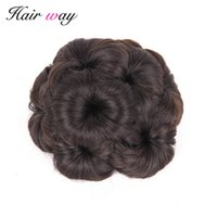 Wholesale chignon resale online - Hair Way High Temperature Fiber Synthetic Curly Chignon Bun Hairpiece For Women Flowers Roller Clip in Fake Hair Accessories