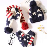 Wholesale baby girls gloves for sale - Group buy Winter Children Pompom Knit Beanies Hat Scarf Gloves Pieces Set Boy Girl Soft Cap Scarves Baby Wool Kids Bone Stars Printed