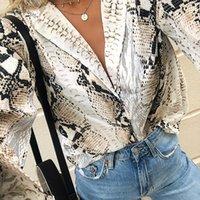 patrón sexy kimono al por mayor-Nuevo estilo de moda 2019 Otoño Kimono Manga Sexy Mujer Blusas de gasa Patrón de piel de serpiente bohemia Impreso de manga larga Tops sueltos