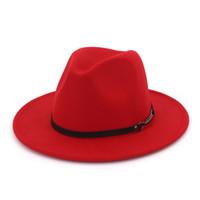 estilos de sombrero vintage al por mayor-De ala ancha Vintage Trilby Fedoras Estilo Negro Panamá Iglesia Sombreros Hombres Señora Jazz Gorras Otoño Invierno Lana Sombrero de fieltro