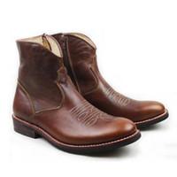 botas de trabalho de equitação venda por atacado-Botas Hombre 2019 Botas de Cowboy Ocidental Homens de Couro Gneuine Couro Botas de Trabalho Sapatos Marrom Artesanal Equitação / Cavaleiro Botas Curtas Homens, 45
