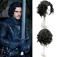 vestidos de perucas venda por atacado-Game of Thrones Jon Snow Peruca Cosplay Preto Curto Cabelo Encaracolado Fofo Medieval Cavaleiro Rei Fantasia Vestido Peruca Acessórios de Halloween