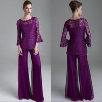 Wholesale long mother bride dress chiffon silver resale online - Grape Lace Chiffon Mother of The Bride Groom Pant Suits Sheer Jewel Neck Long Sleeves Wedding Guest Evening Dress Plus Size