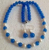 mavi inci kolye küpe toptan satış-Beyaz Akoya Kültürlü Pearl / Mavi Yeşim Yuvarlak Boncuk kolye küpe Takı Seti yeşim
