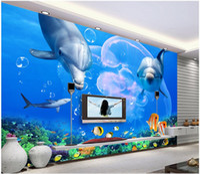 Wholesale shark decor resale online - 3d wallpaper custom photo mural Dolphin shark underwater world tv background living room home decor d wall murals wallpaper for walls d