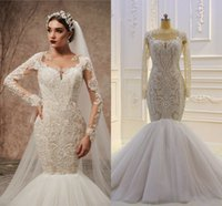 Wholesale white shirt black skirt for sale – plus size 100 Real Pictures Vintage Long Sleeves Lace Appliqued Mermaid Wedding Dress Luxury Arabic Saudi Dubai Plus Size Bridal Gown