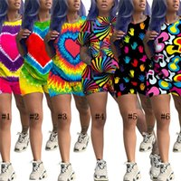 vêtements de sport pour femmes mignonnes achat en gros de-Tie-Dye Tenues Deux Shorts Ensemble Coeur Mignon Survêtement Imprimé Sportswear Casual Streetwear Pyjama À Manches Courtes Vêtements C71604