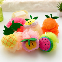 Wholesale children size towel resale online - Children fruit bath ball pineapple strawberry fruit shape bath sponge rubbing towel large size body cleansing bath brushes