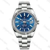 calendários relógio de aço inoxidável venda por atacado-Relógio de luxo novo mens calendário mecânico automático 42mm relógio de aço inoxidável Sky-Dweller GMT mens luminoso negócio relógio 30M à prova d 'água