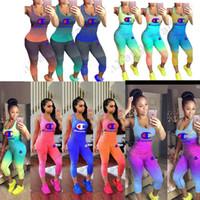 Wholesale women sheer yoga pants for sale - Gradient Color Women Champions Tracksuit Piece Set Outfit Sleeveless Tank Top Vest Tights Leggings Pants Summer Sportswear S xl A41203