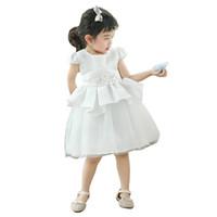 akşam uzun çocuklar giydir toptan satış-Beyaz dantel tül uzun elbise yaş 3-10 yıl için bebek kız bağbozumu asil frocks 3d çiçek gece elbisesi çocuklar yaz parti elbise