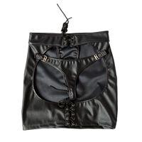 jeux sexe cul achat en gros de-Sexy bandage hanche jupe gros cul mode cuir PU retenue sexy dame adulte jeu jouer sex toys