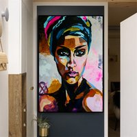 ingrosso pittura ad olio donne africane-1 Pz Astratta Acquerello Donne africane Ritratto Pittura ad olio su tela Poster scandinavi e stampe da parete Immagine No Frame