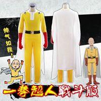 Anime Zentai One Punch Man Saitama Cosplay Costume Bodysuit Uniform Cloak Battle Full Set ( Asian Size )
