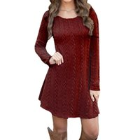 Wholesale crocheted blouses for sale - Group buy Women Ladies Long Sleeve Crewneck Jumper Slim Casual Knitted Sweater Mini Dress Sweater Tops Female Women Blouse Clothing