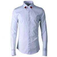 camisas de vestir de manga larga bordadas al por mayor-Camisa bordada de abeja roja para hombre de color sólido de lujo de manga larga para hombre camisa de vestir blanco negro slim fit camisa casual camisa masculina