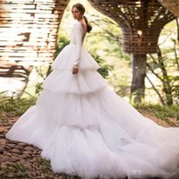 Wholesale long robes plus size for sale - Chapel Tired Train Wedding Dresses With Long Sleeves Sexy V Neck Plus Size Covered Button Back Bridal Party Gowns robes de mariée