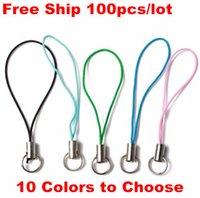 ücretsiz cep telefonu yüzükleri toptan satış-Ücretsiz Gemi 100 adet (10 Renkler) DIY Takı Cep Cep Telefonu Kordon Askısı Halka Charms ile Kristal Rozet Kolye Dekorasyon Aksesuarları