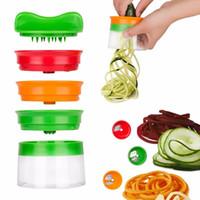 gemüse frucht spirale schneidemaschine großhandel-Gemüse Obst Spiral Slicer Spiralizer Cutter Reiben Kitchen Tool Gadget Zucchini Pasta Nudel Spaghetti Maker Küchenaccessoires