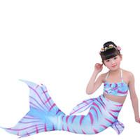 ingrosso 12 mesi costumi da bagno-Bambino estate Mermaid Tail Princess Dress costume da bagno per bambini 1 petto confezionato + 1 salopette + gonna bikini 3 pezzi costume da bagno bikini tinta unita