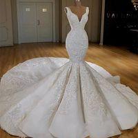 Wholesale trumpet mermaid v neck wedding dress resale online - Luxury wedding dresses deep v neck lace applique mermaid bridal gowns beaded long train elegant vestidos de novia