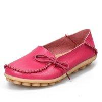 madres tacones al por mayor-Pisos las mujeres zapatos de moda zapatos cómodos hembra ocasional de PU de cuero de los holgazanes planas del talón inferior suave zapatos de la madre Plus