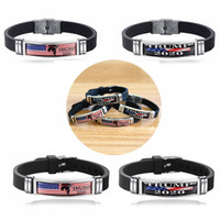 Wholesale Hot Trump Bracelet Stainless Steel Silicone Bracelet Donald Trump Keep America Great Presidential Election Supporter Adjustable Bangle