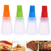 Wholesale oil cook resale online - Silicone Oil Bottle with Brush for Barbecue Cooking Baking Pancake Storage Bottles BBQ Accessories