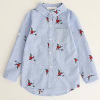 blusa de flores rojas al por mayor-Camisas para niñas 2019 Nueva marca de primavera Bebés Blusa para bebés Flores rojas Tira de bordado Camisas para niños Ropa para niños