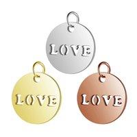 ingrosso accessori gioielli diy-5 pezzi in acciaio inox oro amore pendenti ciondolo per fai da te fascino collane braccialetti che fanno risultati accessori all'ingrosso