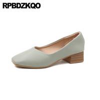 calzature tacchi gialli beige Chunky bassi signore delle pompe a piedi scarpe blocco verde spessi 2019 donne dell annata di punta quadrata nera