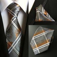 пальцы с узором пейсли hanky оптовых-Classic Men's 100% Silk  Ties Handkerchief Set Paisley Stripe Pocket Square Necktie Party Wedding Christmas Hanky Neck Tie