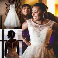 Wholesale plus size wedding dresses for sale - 2019 Arabic Lace Princess Wedding Dresses Scoop Lace Applique Plus Size Wedding Dress Beaded African Bridal Gowns