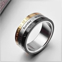 Jewelry & Accessories Obligation Rotatable 3 Part Roman Numerals Ring Men Stainless Steel Cool Spinner Male Bijoux Band With Date Time Calendar Engagement Rings