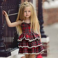 rote flauschige röcke großhandel-Europäische und amerikanische Mädchen schnüren sich Hosenträger-Kuchenrockkleidbabyrotes Plaid süßes nettes flaumiges Kuchenkleid