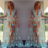 ingrosso abito da ballo trasparente-Maxi abito lungo da donna a fiori in pizzo trasparente con maglie a forma di club party in bikini
