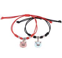kırmızı örgü bilezikler toptan satış-Charm Bilezikler 2019 Marka Yeni Domuz Yıl Şanslı Bilezikler Yüksek Kalite Siyah ve Kırmızı Örgü Halat Çift Bilezikler 2-Piece Set Takı LBR005