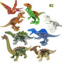 Wholesale park block for sale - Group buy 8pcs Jurassic World Dinosaur Blocks Park Movie Triceratops Tyrannosaurus Velociraptor Model Building Toys Mini figures MMA1498