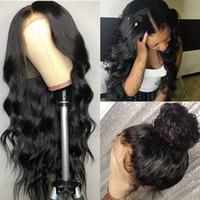 cabelo virgem peru frete grátis venda por atacado-Peru Virgin Corpo Cabelo Aceno Lace Wig Natural Color 360 Lace Wig frontal Pré arrancado com o cabelo do bebê 10-26inch frete grátis Swiss Lace
