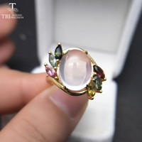 Wholesale natural gemstone 12mm resale online - TBJ Natural Ethiopian Rose quartz oval mm with tourmaline gemstone Ring in sterling silver for women with gift box