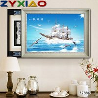 Wholesale Rhinestone full round square diamond embroidery dolphin sea sailboat D diy diamond painting cross stitch kit home mosaic decor gift AA7886