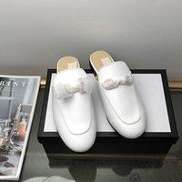 badem topuklu toptan satış-Zincir dekore Loafers üzerinde Kadın Moda Rahat Kayma Düşük Topuklar Badem Burun Casual Günlük Katır Sivri Burun Backless Slipper