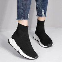 zapatos de marca de moda al por mayor-Balenciaga Sock shoes Luxury Brand de lujo de los hombres de las mujeres calcetines zapatos negro blanco azul oreo Flat mens sport zapatillas Runner tamaño 36-46