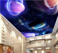 Wholesale mural kitchen for sale - Group buy WDBH d ceiling mural wallpaper custom photo Cosmic starry sky solar system living room Home decor d wall murals wallpaper for walls d