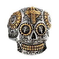sallanan kafatası toptan satış-Kişilik Hiphop Serin erkek Gotik Oyma Punk Rock Yüzük Paslanmaz Çelik ücretsiz Kargo ile adam Için Yüksek Kalite Çapraz Kafatası Yüzük Takı